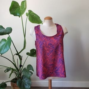 COSTA BLANCA   Abstract Blue & Pink Open Back Top